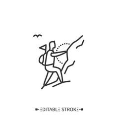 Mountaineering line icon editable vector