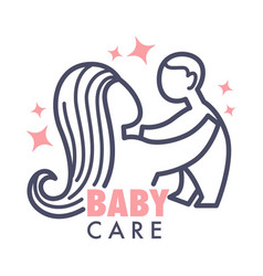 Nanny service isolated icon mother and baby pink vector