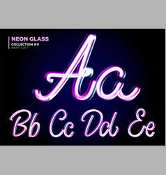 neon glowing 3d typeset font set of glass vector image
