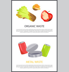 Organic and metal waste sample colorful posters vector