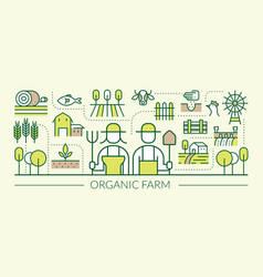 organic farm line icons banner vector image