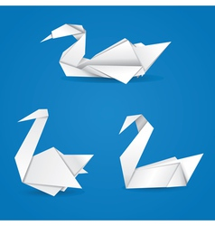 Origami swans vector image