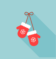 Pair knitted christmas mittens with snowflakes vector