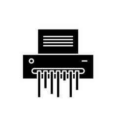 paper shredder black icon sign on isolated vector image