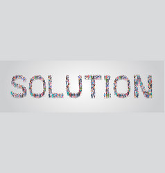 People crowd gathering in shape solution word vector