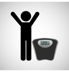 Person weighing himself vector