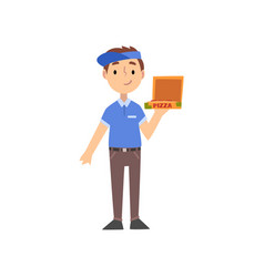 Pizza delivery boy character with box kid vector