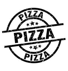 Pizza round grunge black stamp vector