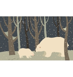 Polar bear and cub in the forest vector