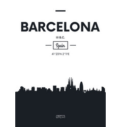 Poster city skyline barcelona flat style vector
