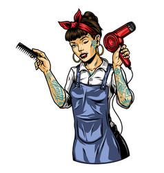 pretty tattooed winking female barber vector image