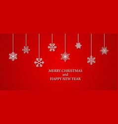 red christmas background with snowflakes xmas vector image