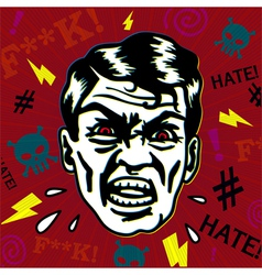 Retro hater man with angry face swearing vector