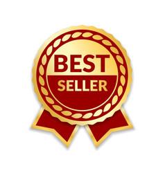Ribbon award best seller gold ribbon award icon vector