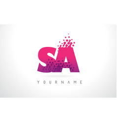 Sa s a letter logo with pink purple color and vector