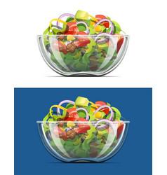Salad in transparent bowl vector