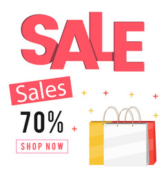 sales 70 shop now shopping bag background vector image
