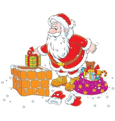 Santa on a housetop vector image