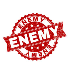 Scratched textured enemy stamp seal vector