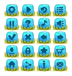 set blue buttons with web icons vector image