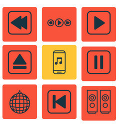 set of 9 multimedia icons includes sound box vector image vector image