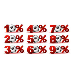 Set of percent discount icons with soccer ball vector