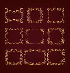 Set of royal golden frames vector
