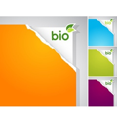 Set of teared papers with bio sign vector image