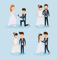 set of wedding couple vector image