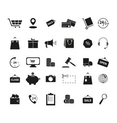 set shopping black icons vector image