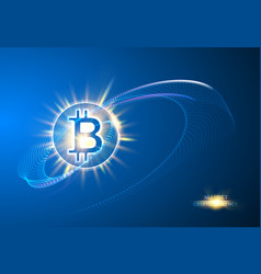 shining bitcoin symbol light splashes and sparks vector image