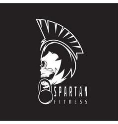 skull spartan warrior fitness design template vector image