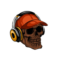 Skull with headphones listening to music drawing vector