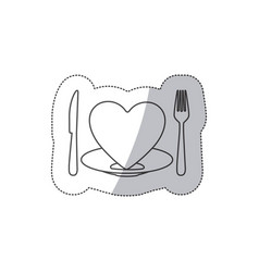 Sticker contour of healthy heart food with dish vector