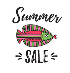 summer sale lettering with fish vector image