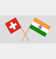 Switzerland and india swiss and indian flags vector