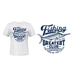 t-shirt print with big marlin fish mascot vector image