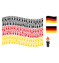 waving german flag collage of candle items vector image