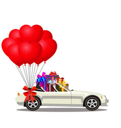 white modern opened cartoon cabriolet car full of vector image