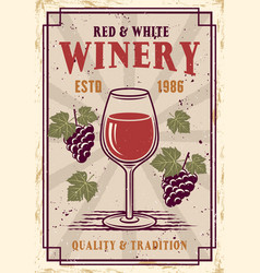 Winery colored poster in vintage style vector