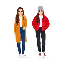 Winter woman clothes vector