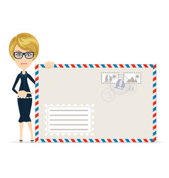 woman in formal suit pointing to an envelope with vector image
