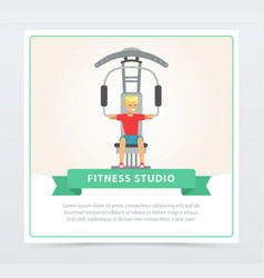 Young man flexing muscles on trainer gym machine vector