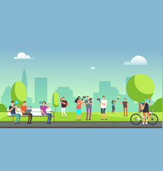 Young people using smartphones and tablets walking vector