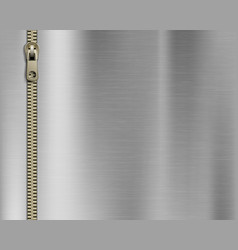 zipper sewing on a metal background vector image
