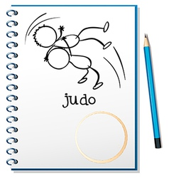 A notebook with a sketch of two people doing judo vector image