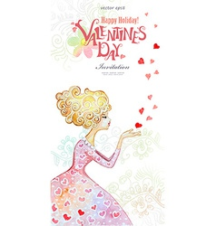 Beautiful watercolor greeting card with fashion vector image
