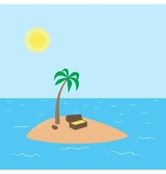 Cartoon Treasure Island with palm chest full of vector image