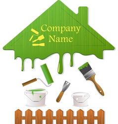 Green roof and painting tools vector