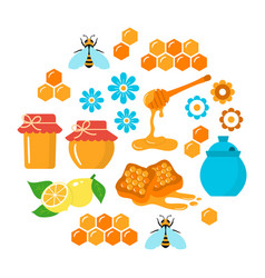 honey flat icons set vector image vector image